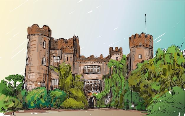 Эскиз пейзаж города дублина, ирландия, замок малахайд, рисование от руки