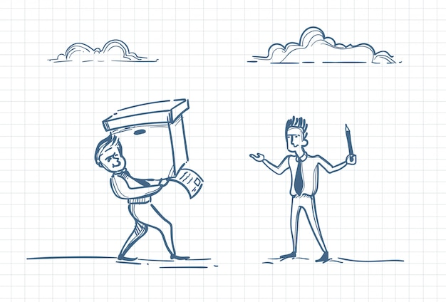 Sketch of a leader commanding employee