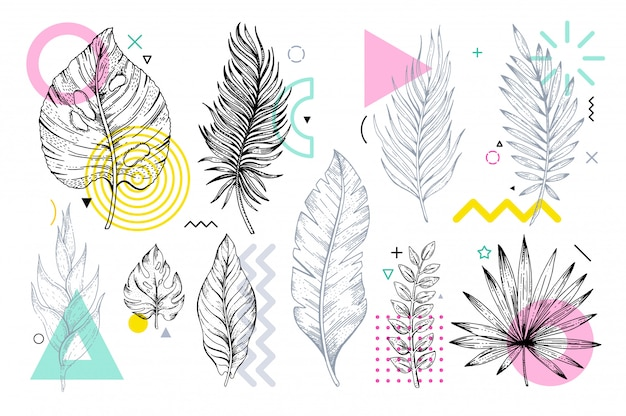 Sketch leaves set with geometric memphis shapes.