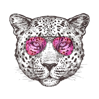 Sketch leopard head with sunglusses