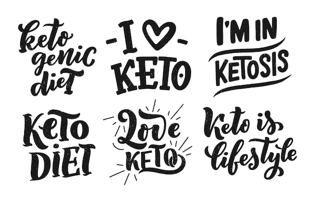 Sketch lettering for keto diet, doodle style concept .