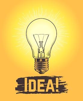 Эскиз лампочки. новое понятие вектора дела и творческой идеи с лампой нарисованной рукой. иллюстрация творчества лампового света, вдохновения и инноваций энергии энергии