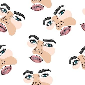 スケッチライン女性の幾何学的形状ファッション肖像画パターン背景