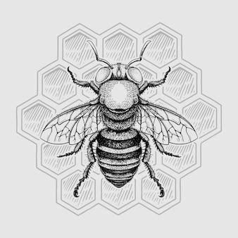 Эскиз линии пчелы с ульем