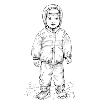 Sketch of a little boy wearing raincoat and rubber boots. hand drawn waterproof costume for children.