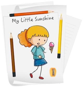 分離された紙に小さな子供の漫画のキャラクターをスケッチします。