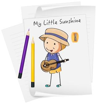 고립 된 종이에 작은 아이 만화 캐릭터를 스케치