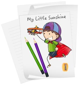 Schizzi il personaggio dei cartoni animati dei bambini piccoli su carta isolata