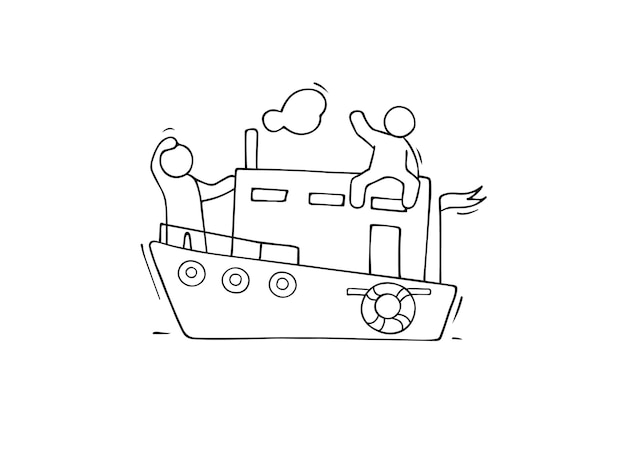 Sketch of little men sail by boat