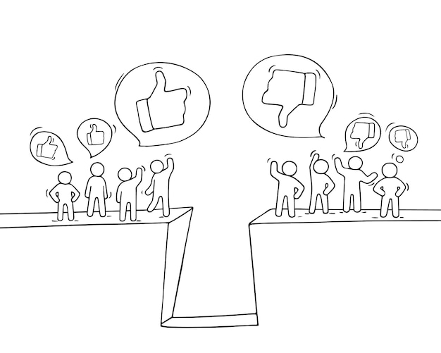 Sketch of little people with like and dislike signs. doodle cute miniature scene of workers. hand drawn cartoon  for business and web design.