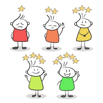 Sketch of little people with stars of rating. doodle cute miniature. hand drawn cartoon vector illustration for business and web design
