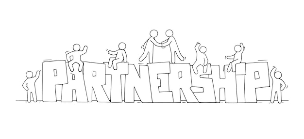 Sketch of little people with word partnership. doodle cute miniature scene about teamwork. hand drawn cartoon vector illustration.