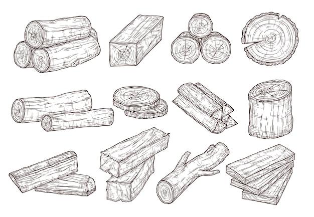 木材をスケッチします。木の丸太、トランク、板。林業建材手描き分離セット。イラスト木材、幹木カット