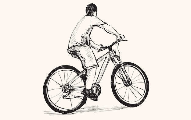 Sketch of a man and bicycle, free hand drawing,  and illustration