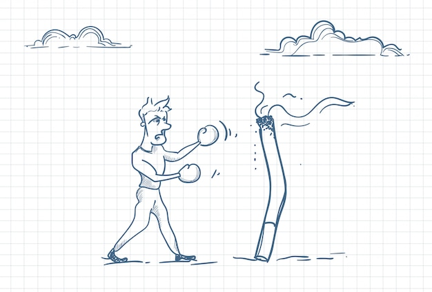 Sketch of a man fighting against smoking addiction