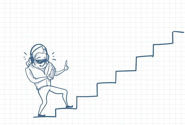 Sketch of a man listening music on stairs