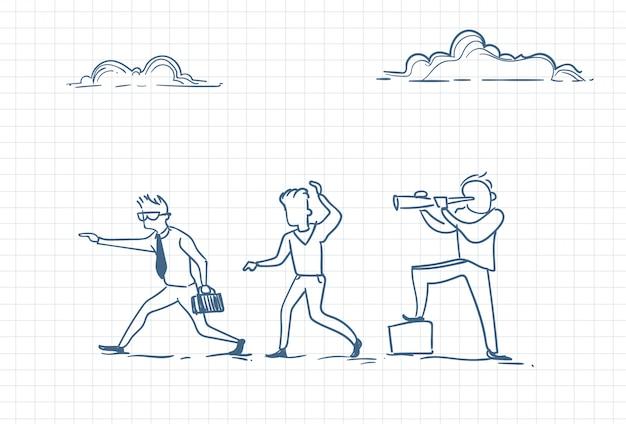 Sketch of men working together