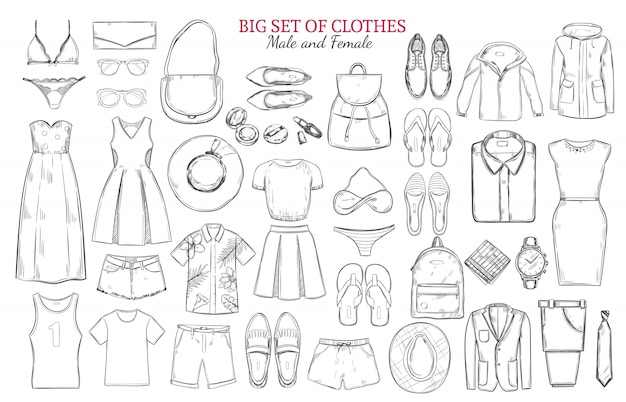 Sketch monochrome clothes icons set