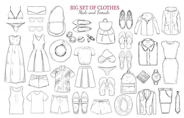 Эскиз монохромный набор иконок одежды