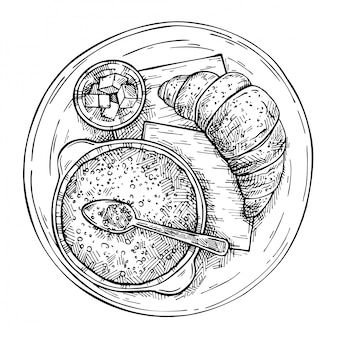 Sketch morning food - oatmeal, croissant and butter.hand drawn vintage breakfast top view. engraved style.