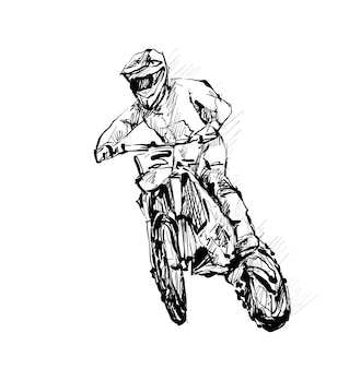 Sketch of motorcross sportsman drawing outline