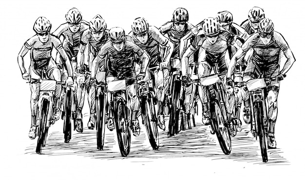 Sketch of the mountain bike competition show hand draw