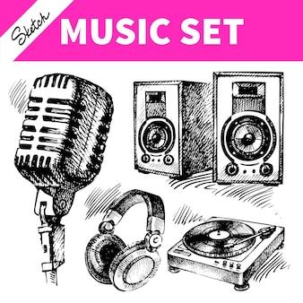 Эскиз музыкального набора. рисованной иллюстрации иконок dj