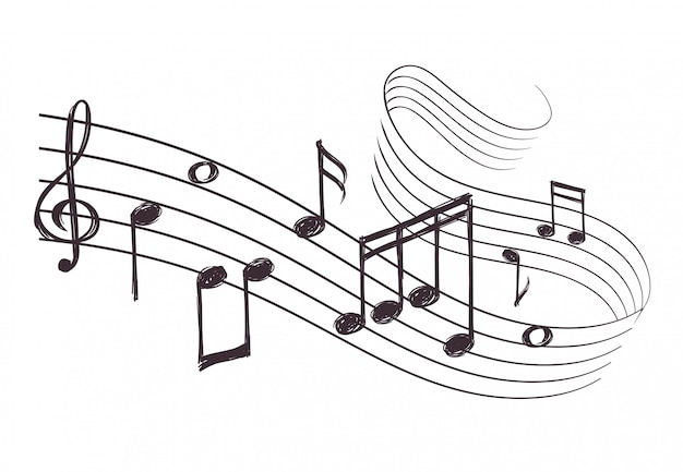 Sketch musical sound wave with music notes.
