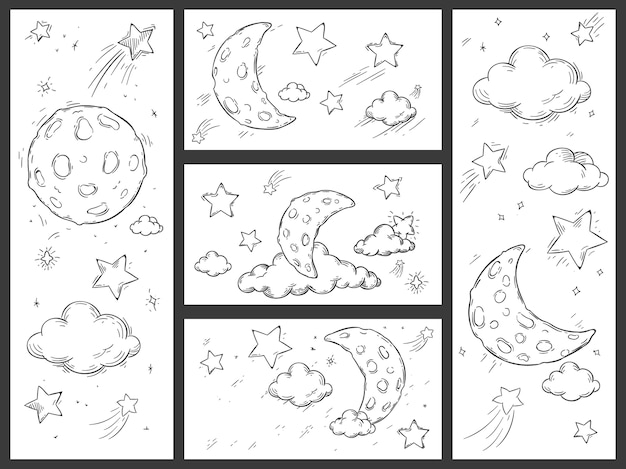Sketch night sky with moon