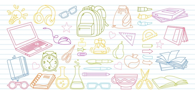 Sketch in notebook back to school doodle cartoon set learning school line first day of school equipment education concept icon kit scissors laptop glasses book backpack paints outline