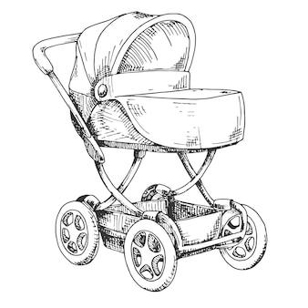 Эскиз детской коляски. векторная иллюстрация