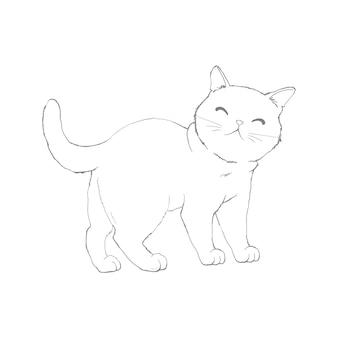 白い背景で隔離の猫のスケッチ。印刷のためのかわいいベクトル猫のスケッチ