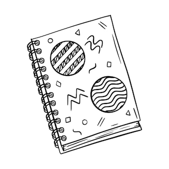 노트의 나선형에 닫힌 noteook의 스케치입니다. 손으로 그린 검은 흰색 그림