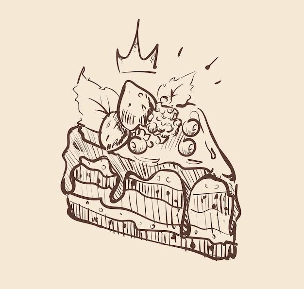 おいしいベリーケーキのスケッチ