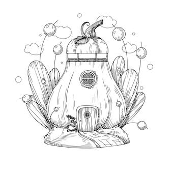 Эскиз фантастического тыквенного домика. мультяшный тыквенный дом гнома. вектор