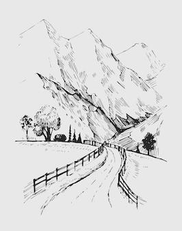 道路と山のある風景のスケッチ。手描きイラスト