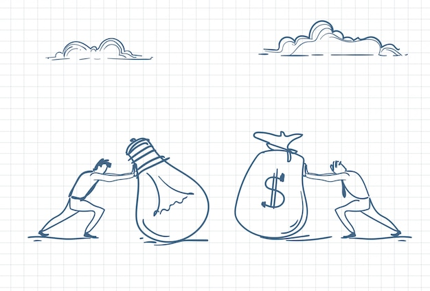 新しいアイデアのためにお金の袋を押す男のスケッチ