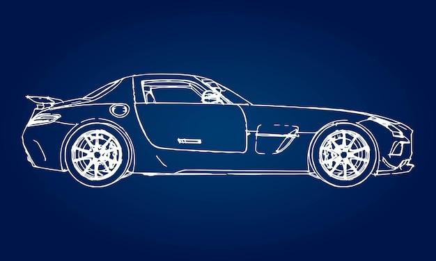 グラデーションの青い背景に現代のスポーツカーのスケッチ。