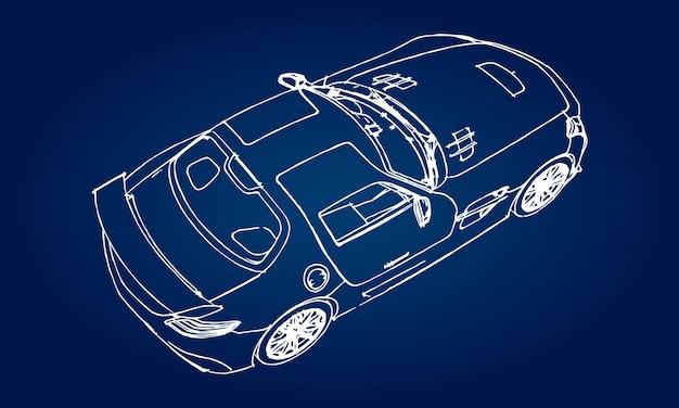 Эскиз современного спортивного автомобиля на синем фоне с градиентом.