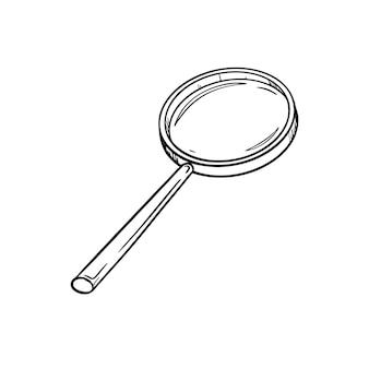 손잡이가 있는 둥근 오래된 돋보기의 스케치. 아이콘을 검색하거나 보세요. 손으로 그린 블랙 화이트