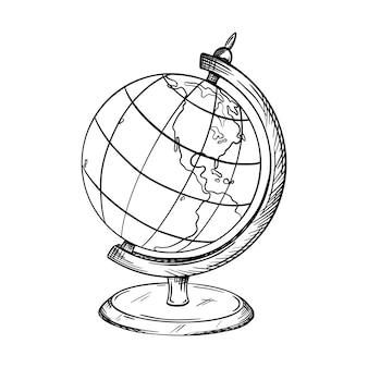 Эскиз школьного глобуса на подставке. на карте показаны южная и северная америка. рисованной черный белый