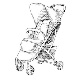 Эскиз коляски для прогулок. векторная иллюстрация