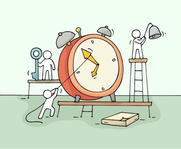 働く小さな人々のイラストと目覚まし時計のスケッチ