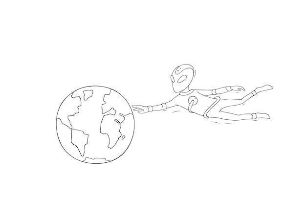 외계인과 지구의 밑그림입니다. 첫 만남에 대한 귀여운 낙서 장면. 과학 디자인을 위한 손으로 그린 만화 벡터 일러스트 레이 션.