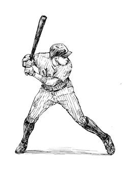 野球選手の手描きのスケッチ