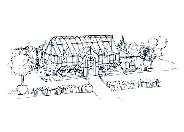 냄비에 자라는 관목과 나무로 둘러싸인 아름다운 유리 건물의 스케치