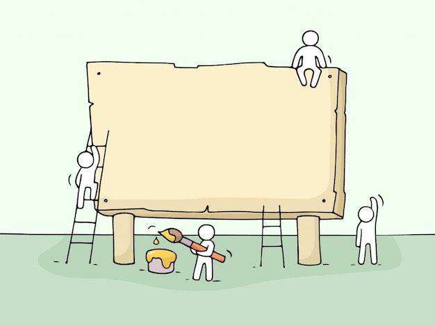 Эскиз пустой доски с работающих маленьких людей.