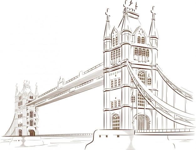 Эскиз британской туристической достопримечательности - лондонский мост