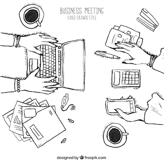 Sketch of business meeting with laptop and mobile