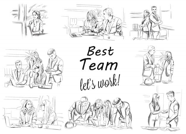 비즈니스 팀 작업 컬렉션의 스케치